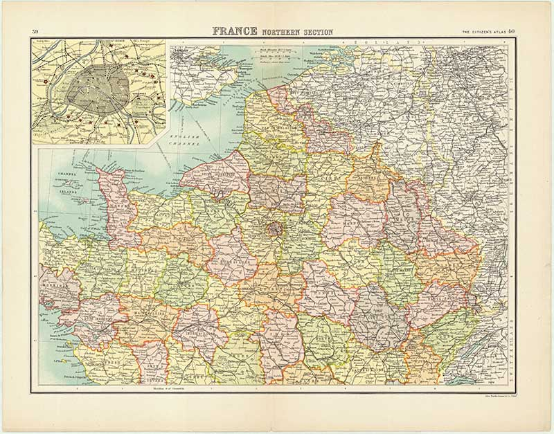 Old Map of Northern France- vintage maps of France printable.
