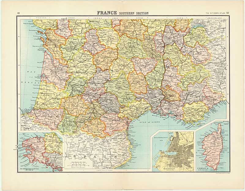 Old Map of Southern France