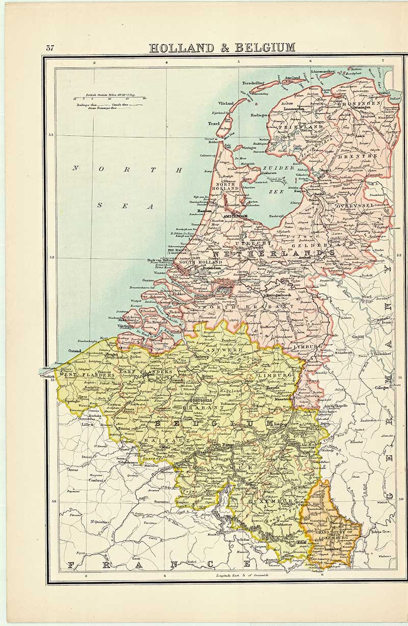 Old Map of Holland & Belgium 1898