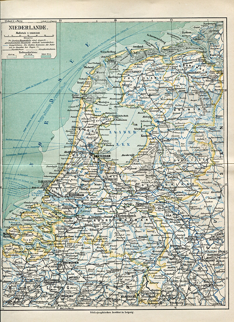 Old Map of Netherlands -