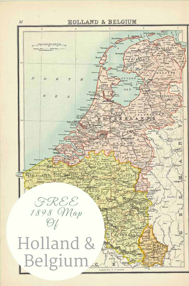 Old Map of Holland & Belgium 1898 Map
