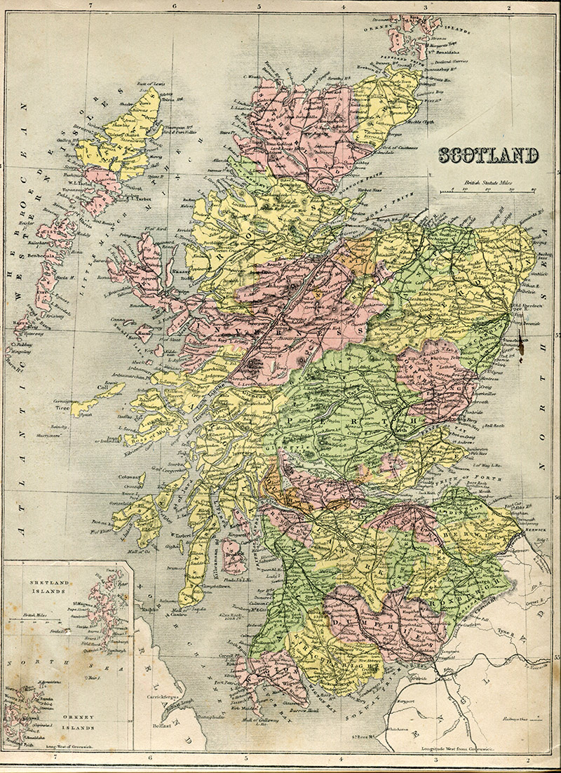 Old map of Scotland