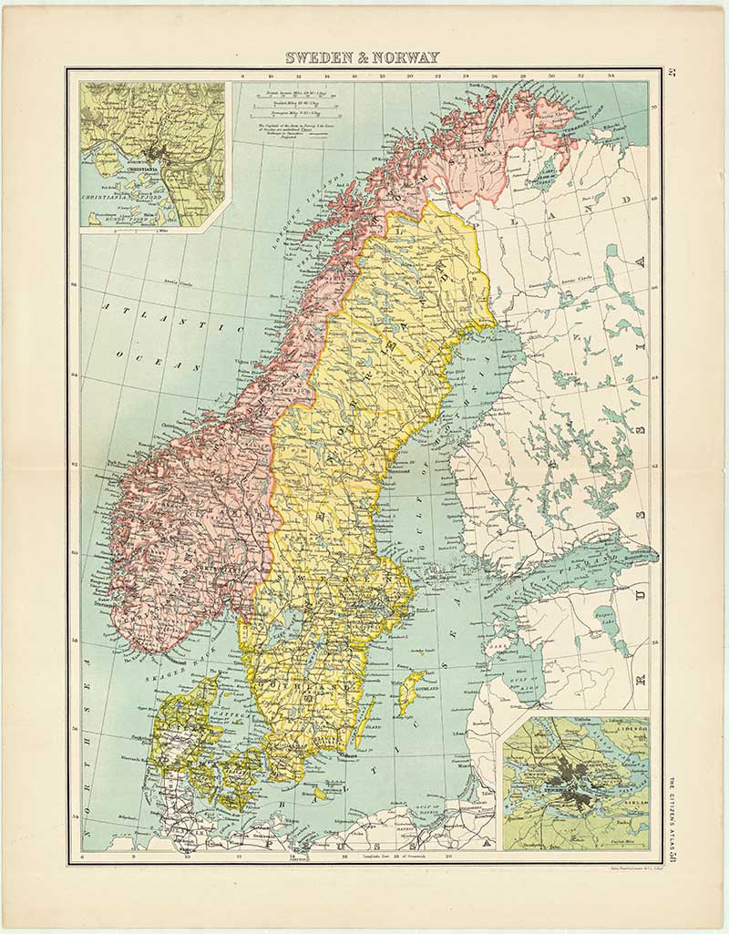 Old Map of Sweden and Norway