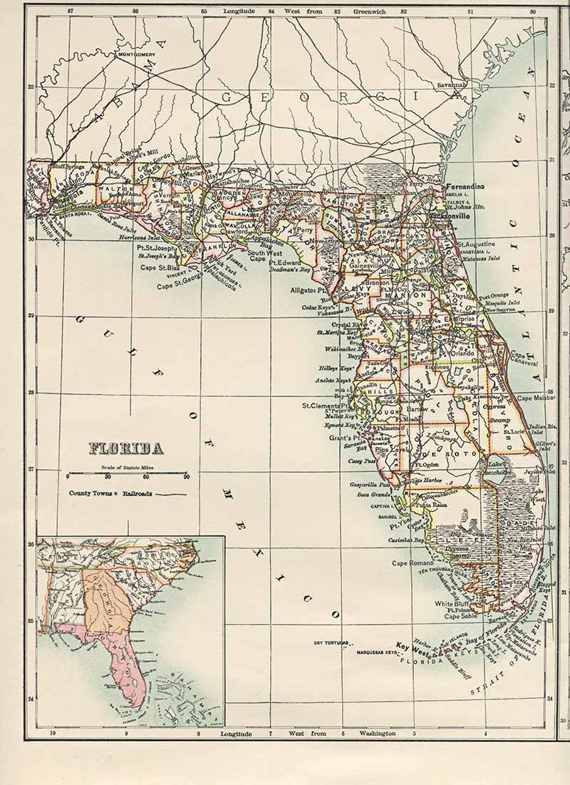 Old Map of Florida USA