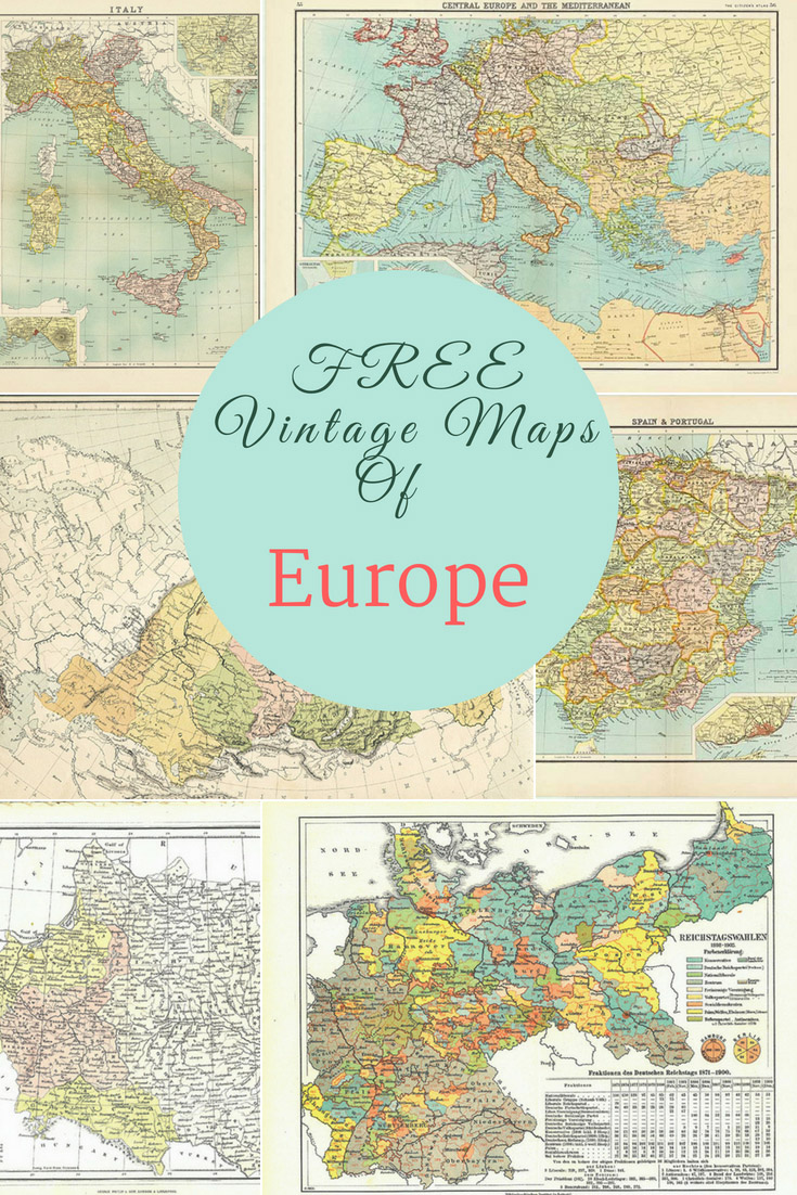 FREE vintage maps of Europe pin