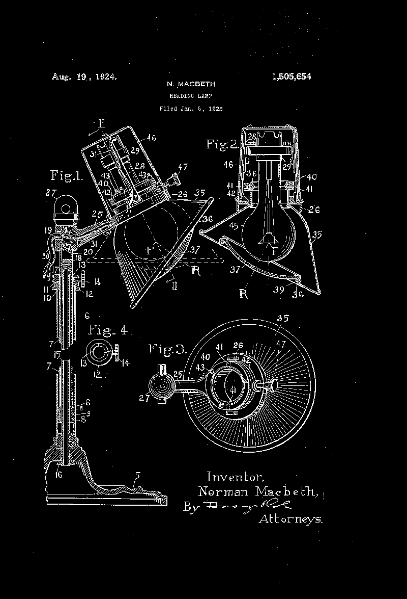 Reading lamp patent 1923 inverted