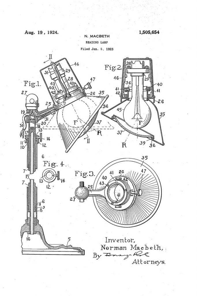 Reading lamp patent art