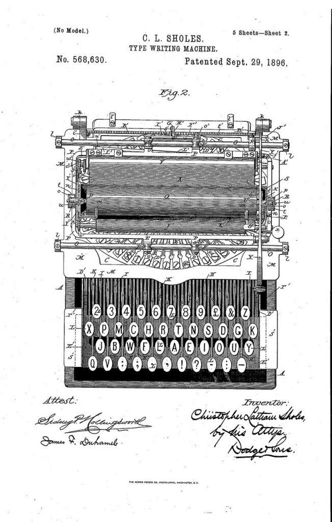 Typewriter patent 1896