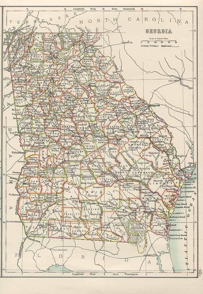 Old Map of Georgia USA
