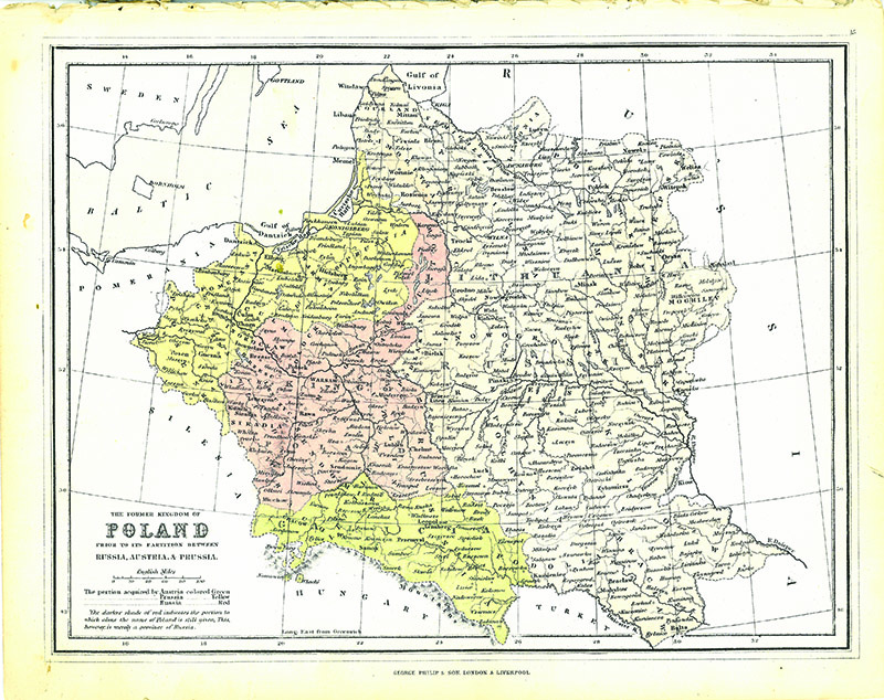Vintage map of Poland