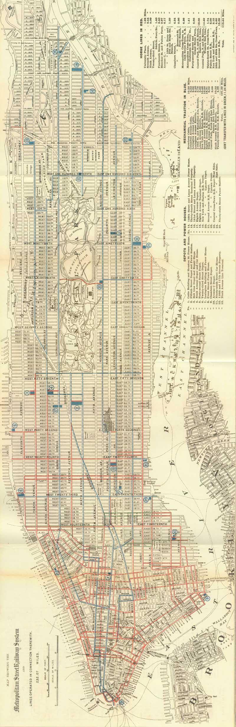 Free 1899 Manhattan Street Car Map