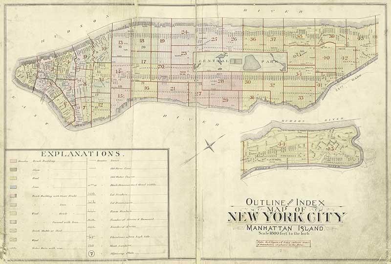 Vintage New York Map Manhattan Island Pictureboxblue
