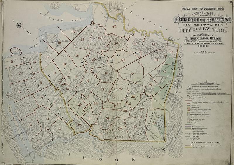 vintage map New york Queens borough
