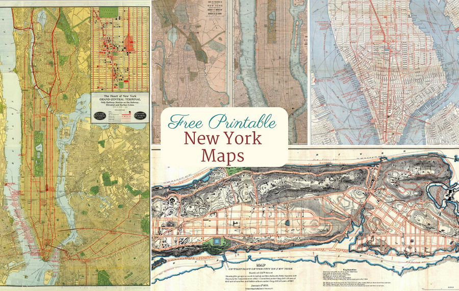 Free printable vintage new york city maps