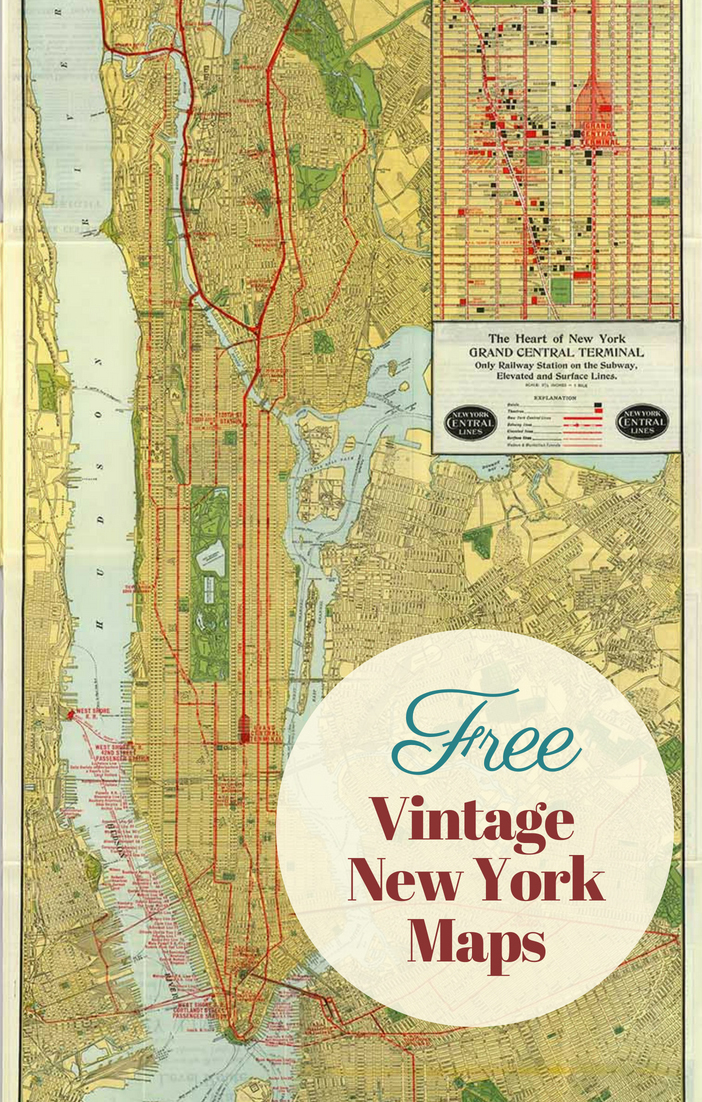 Free vintage Manhattan maps