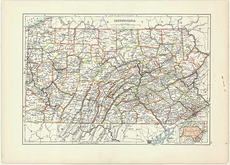 Antique map of us state of Pennsylvania