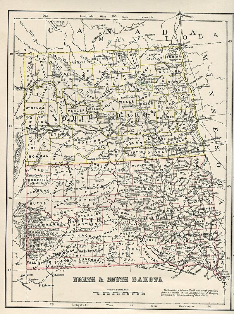Antique US state map of North & South Dakota