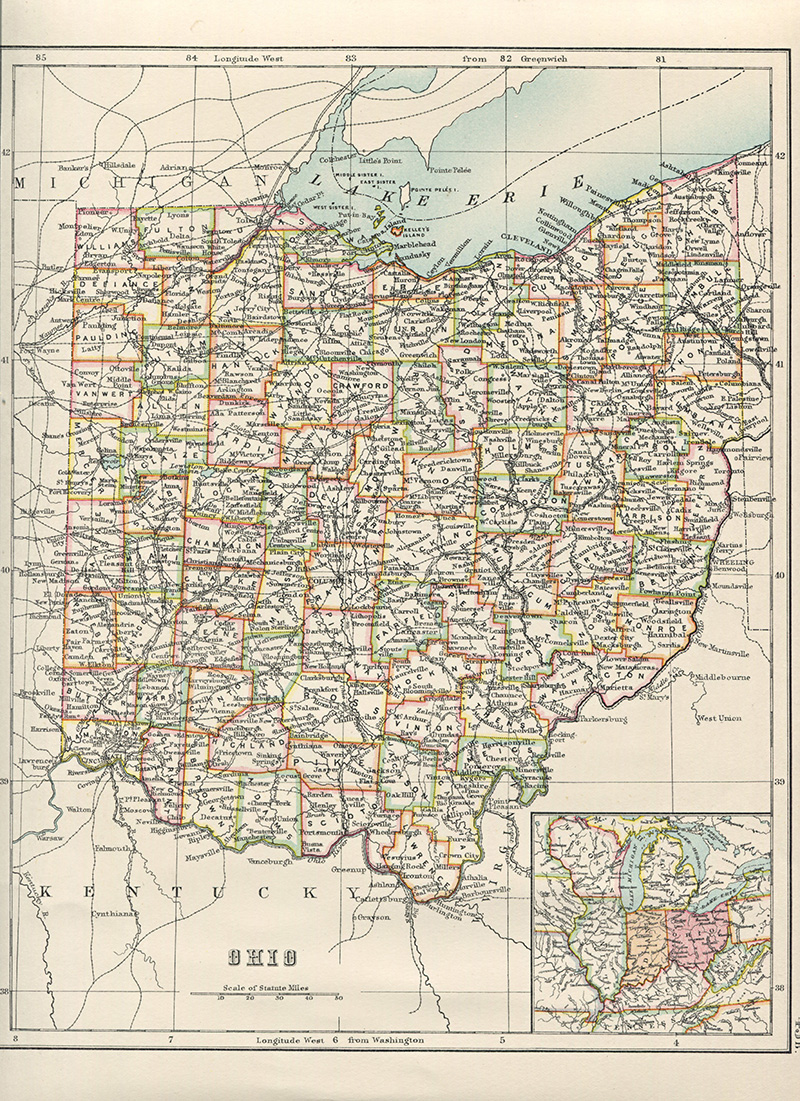 Old map of US state Ohio