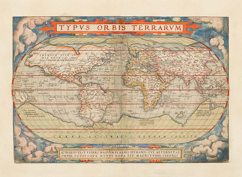 Antique world map 1570
