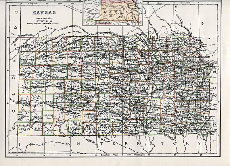 Antique US state maps Kansas