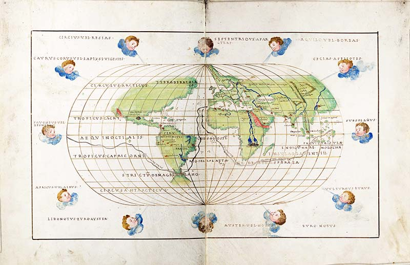 World Map with winds Battista Agnese 1554