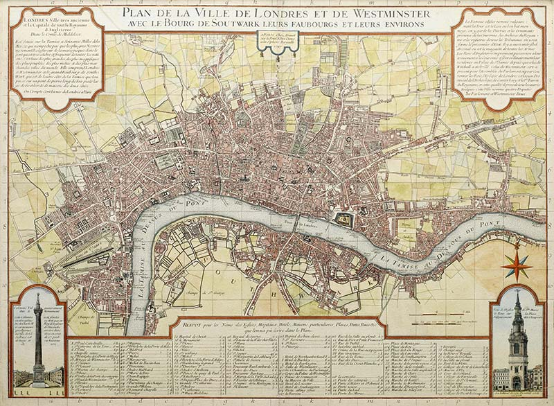 vintage london maps, 1727 french map of London