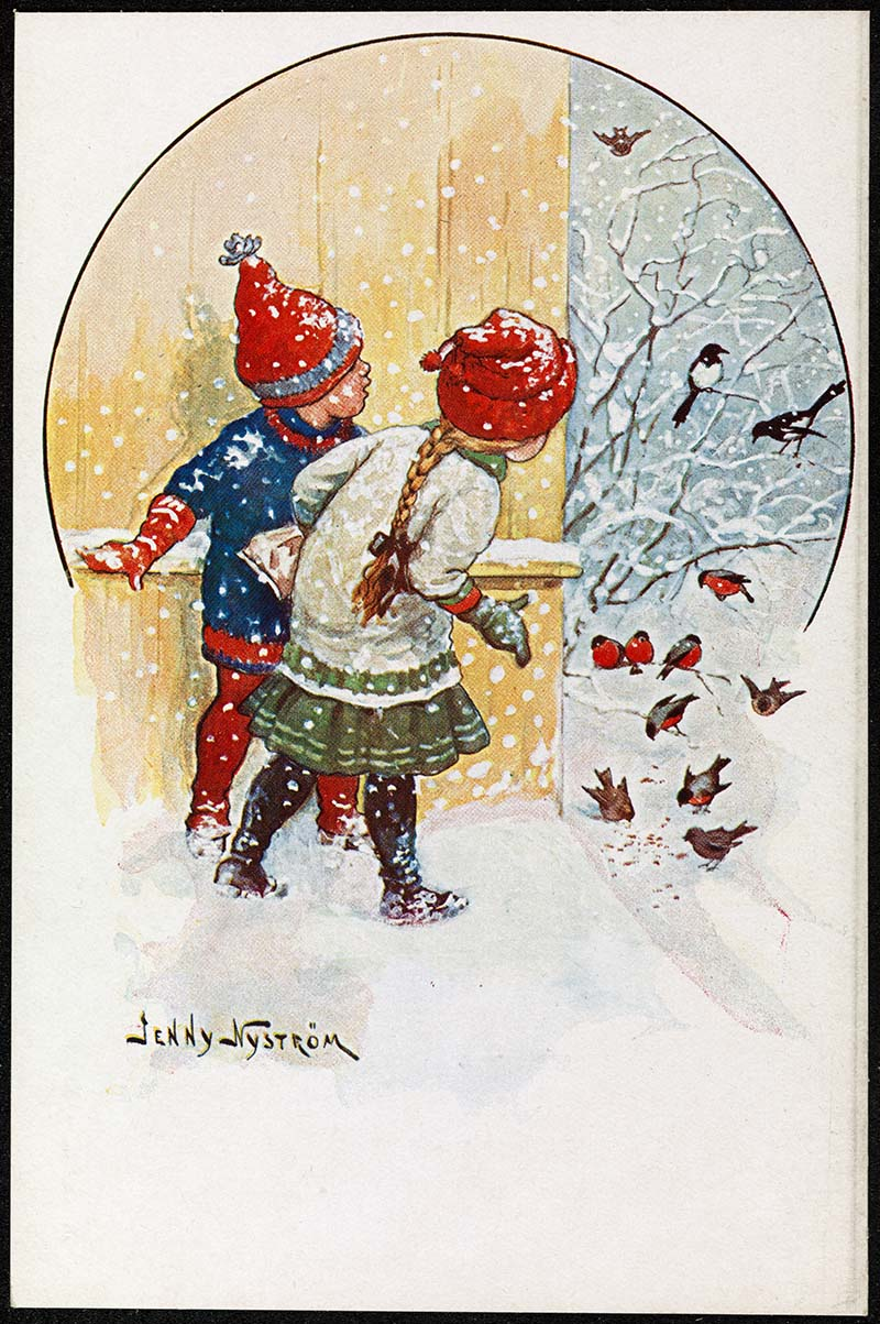 Scandinavian vintage Christmas card of children looking at robins