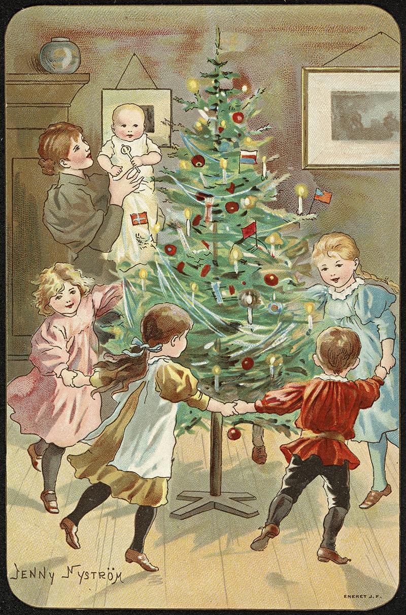 Dancing around the Christmas tree vintage Christmas card