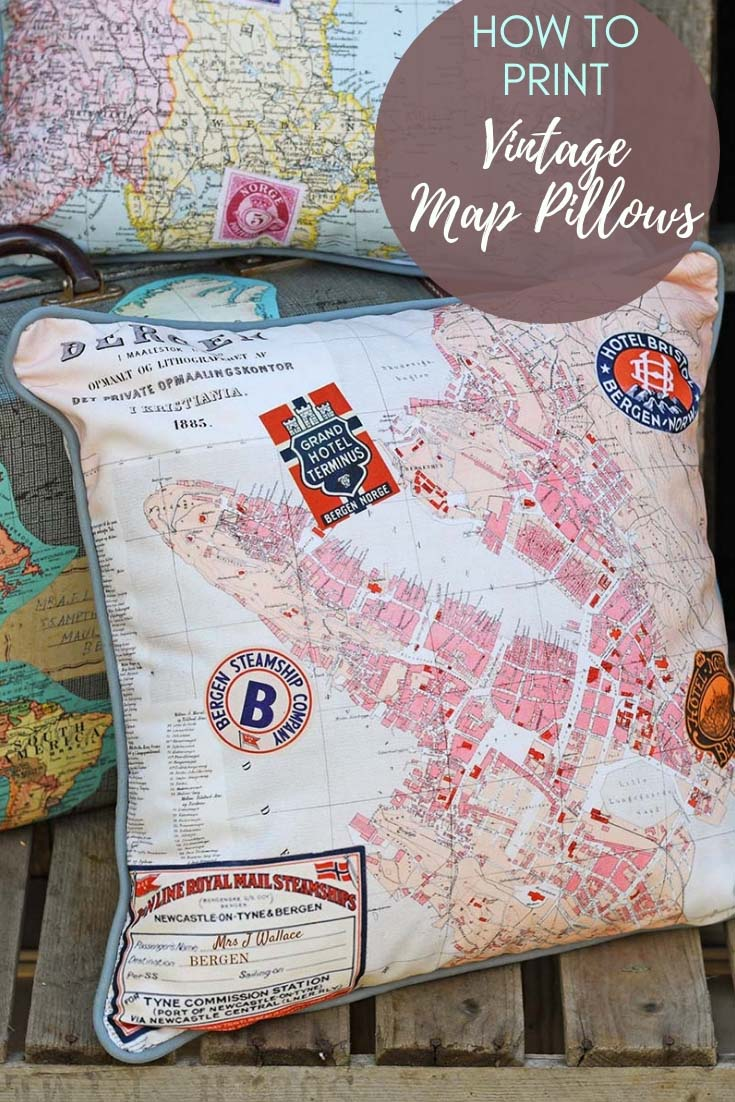 How to design and print vintage map pillow