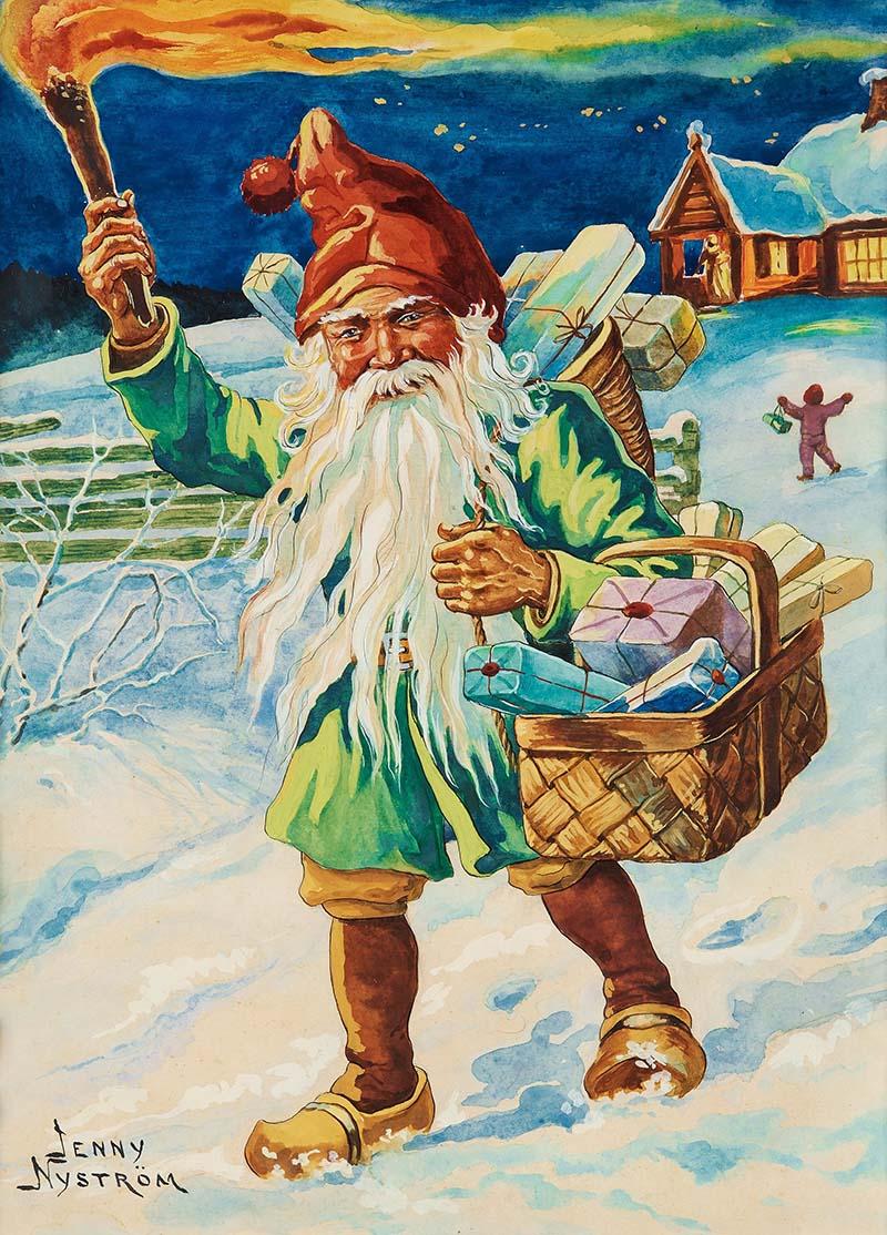 Jenny_Nyström Green Santa Christmas postcard