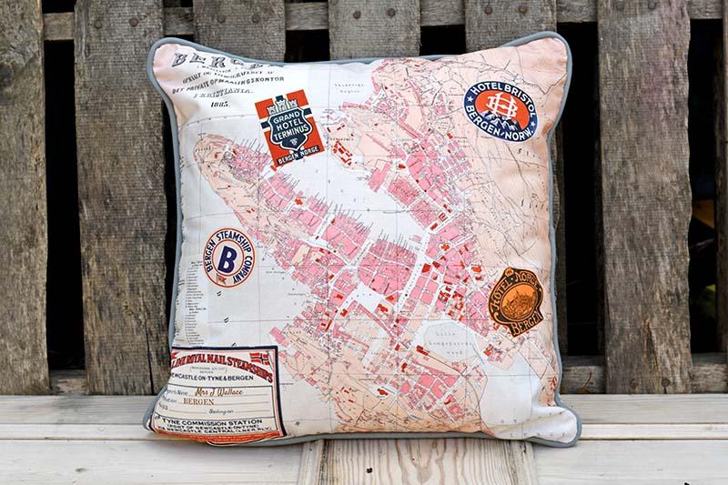 Vintage Map pillow printed