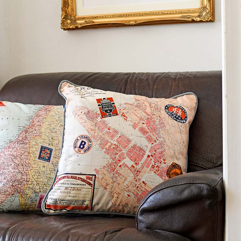 Printed map vintage map pillows 2 sides