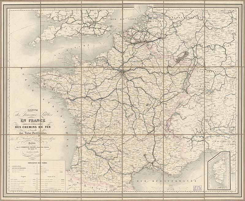 Public work map of France 1865 free to download