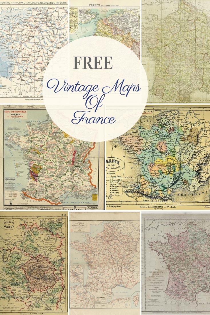 FREE printable vintage maps of France