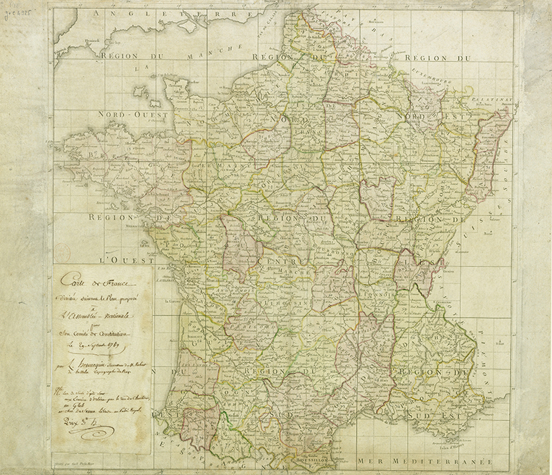 Map of France after the Revolution in 1789