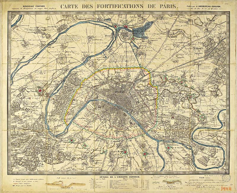 Old maps of Paris, fortifications map 1841