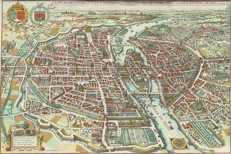 Gorgeous vintage maps of Paris to download including this Plan De Merain from 1615.