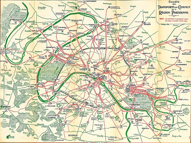 Old maps of Paris 1921 Transport links
