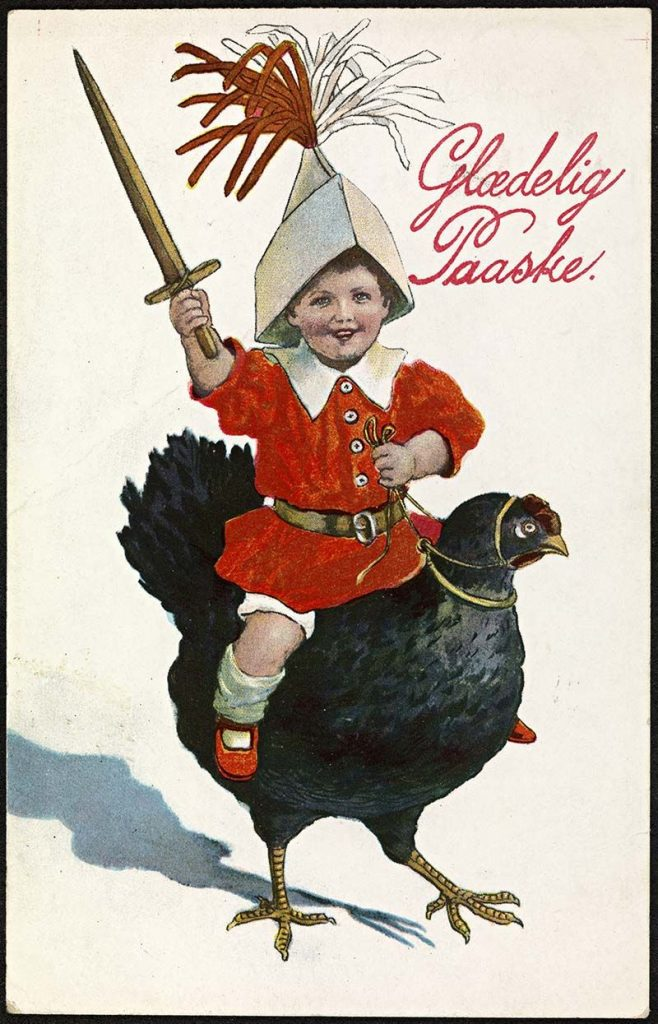 Norwegian Easter postcard child riding a chicken