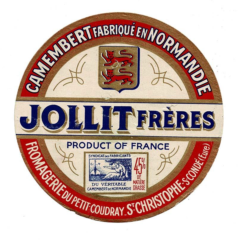 vintage cheese label Jollit freres Camembert