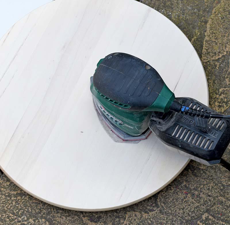 Sanding off the varnish