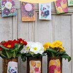 Floral decoupage planters
