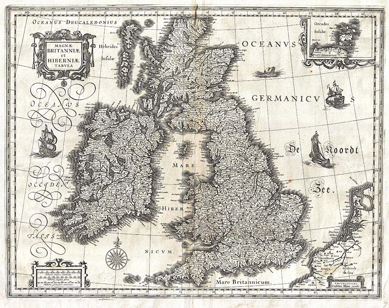 1631 vintage map of the British Isles