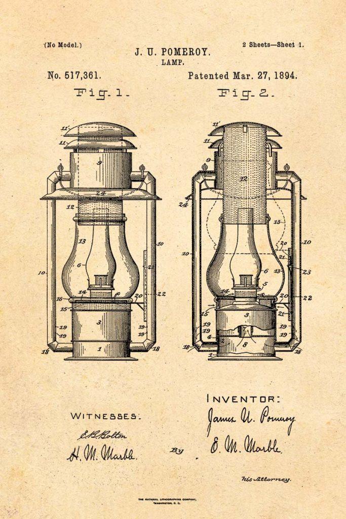 hurricane lamp vintage patent image