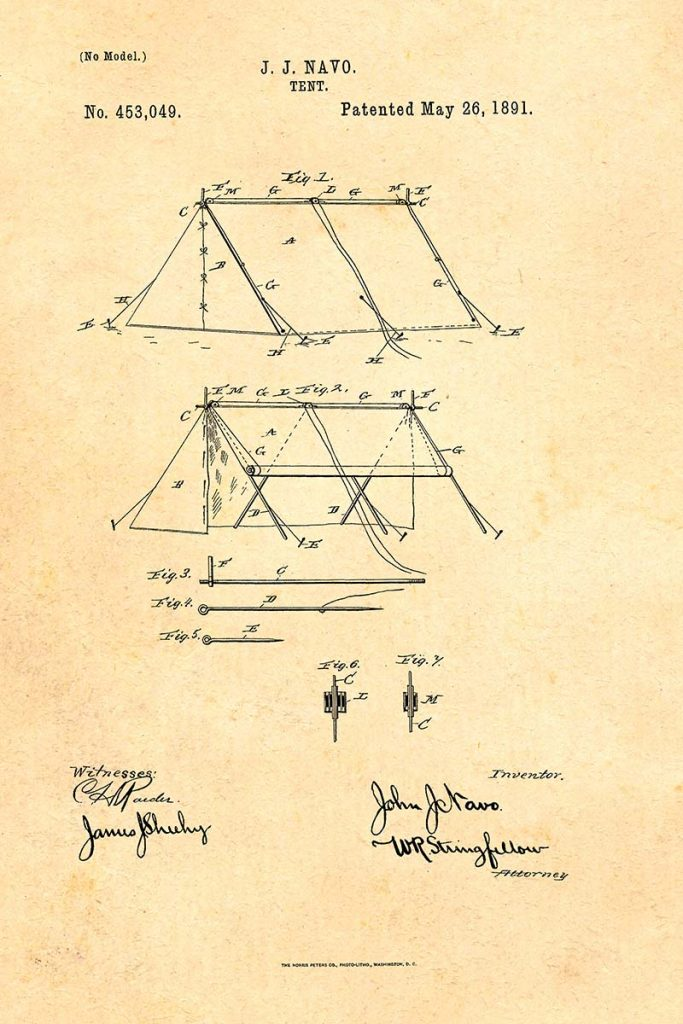 A - Frame tent patent 1891.