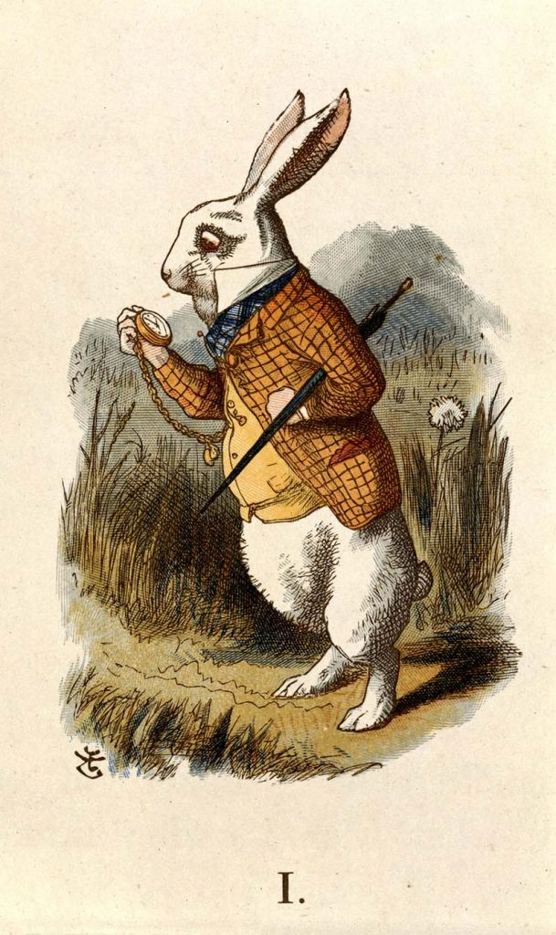 White Rabbit looking at his pocket watch.