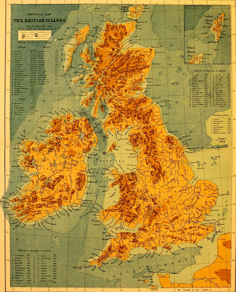 Physical geography map of Britain