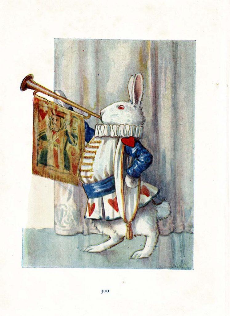 White rabbit blowing trumpet