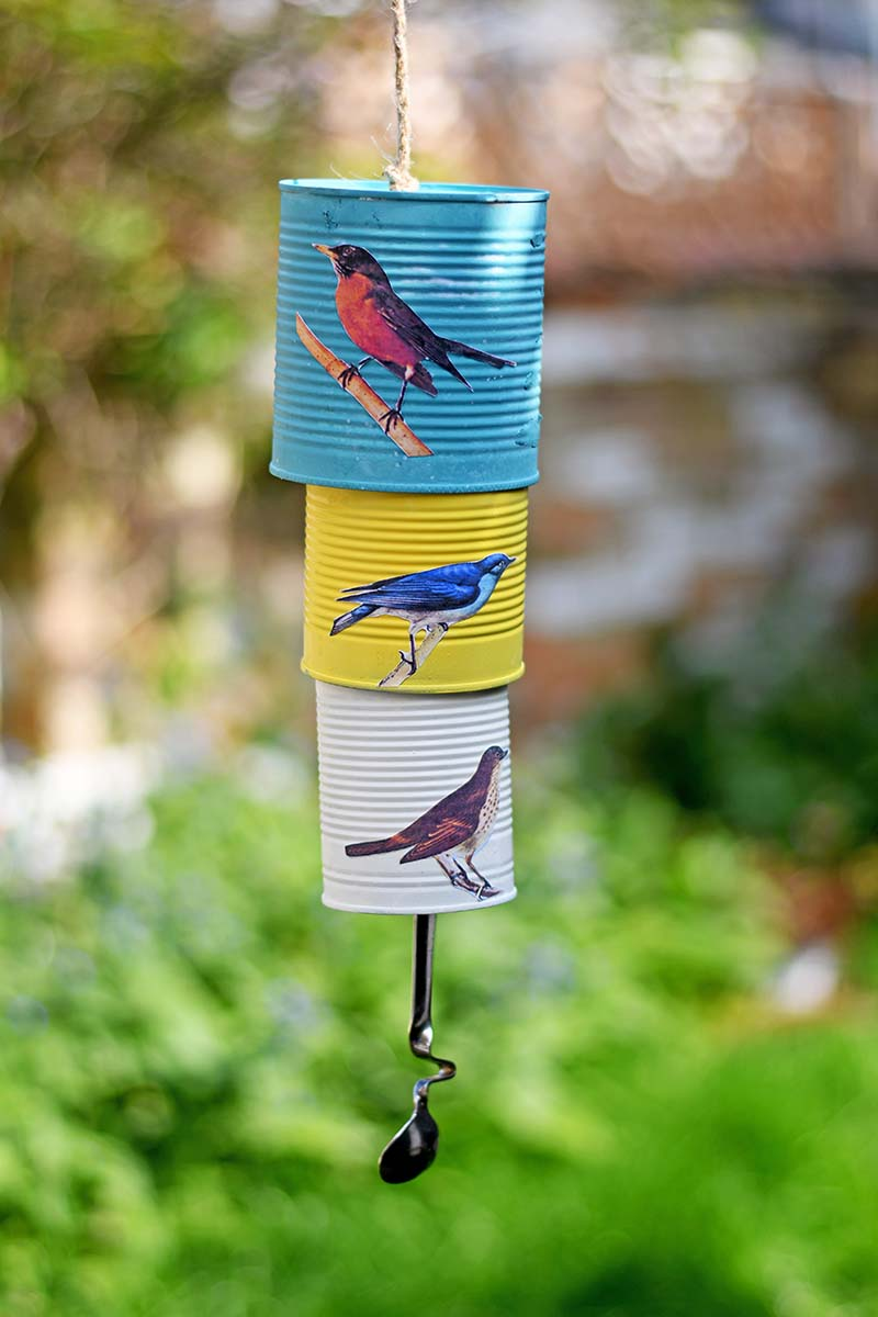 Songbird tin can wind chime