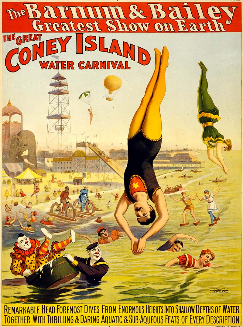 Barnum & Baily Coney Island Water Carnival vintage circus poster